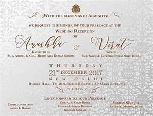invitation card venue details of virat kohli anushka With wedding invitation cards online mumbai