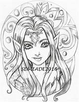 Grayscale Jewel Coloring Adult Elf Stamp Pages Fairy Bloom Digital Etsy Dessins Tattoo Printable Books Dessin Colouring Drawings sketch template