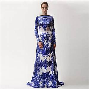 2017 Designer Maxi Dress Women's Long Sleeve Gorgeous Blue ...