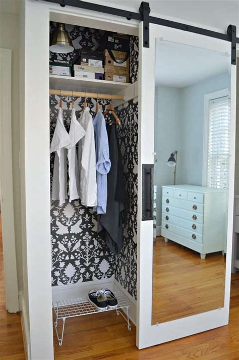 Hanging Closet Doors by Diy Cheap Barn Door With A Repurposed Mirror Chatfield Court