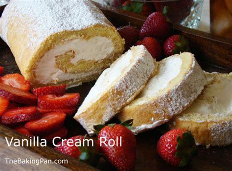 vanilla cream roll cake recipe thebakingpancom