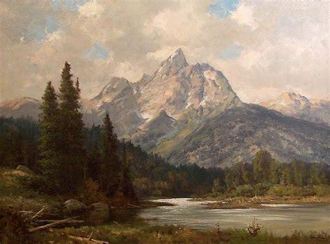 robert wood grand teton painting framed paintings  sale