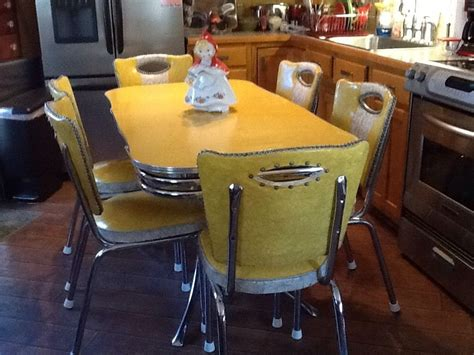 vintage yellow chrome  formica spartan table