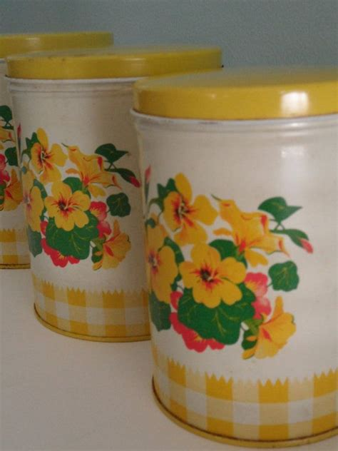 vintage kitchen canisters sets vintage yellow kitchen canisters set of three