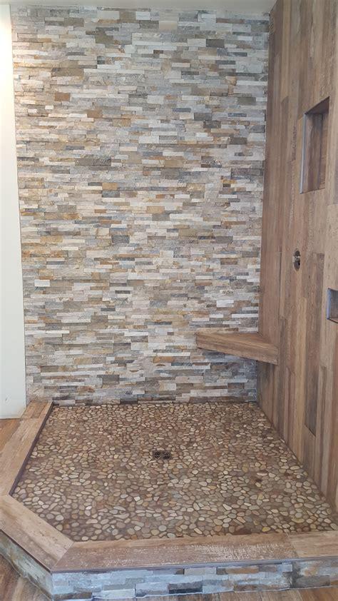 shower wood  tile quartzite ledger  pebbles