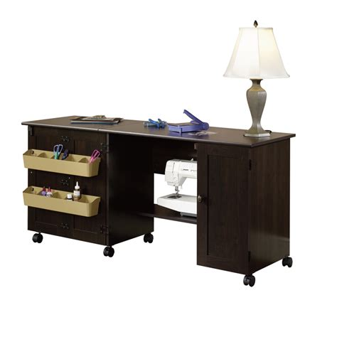 sauder sewing craft table cabinet storage shop sauder cinnamon cherry 4 shelf office cabinet at