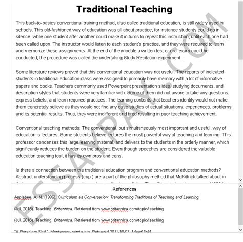 As known, thesis is a very complex research paper with very serious requirements. Traditional Teaching Essay Example for Free - 886 Words | EssayPay
