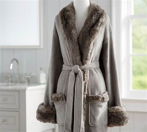 Faux Fur Robe Without Hood   Gray/Chinchilla   Pottery Barn
