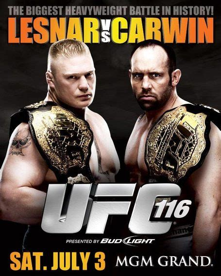 ufc  results lesnar  carwin fight video daily