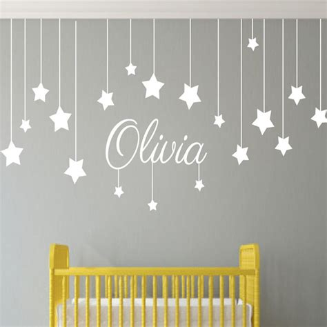 Get the best deals on wall decor girls nursery wall décor. Name Custom Stars and Moon Childrens Wall Art Nursery Baby Decor Wall Stickers Kindergarten Kids ...