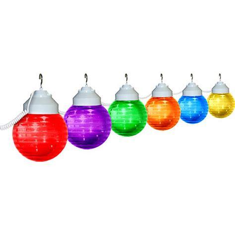 six multi colored globe string light set