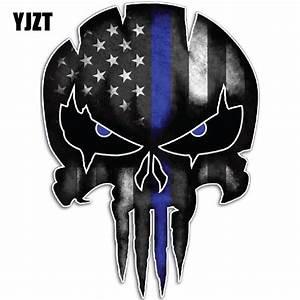 YJZT 9 5CMX13CM Thin Blue Line Punisher Skull Reflective