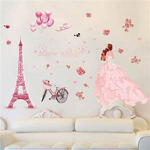 3d Wall Stickers Bedroom Romantic DIY Removable Paris Iron