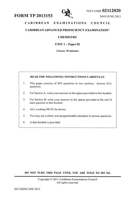 Chemistry (unit 1 2013) Paper 2