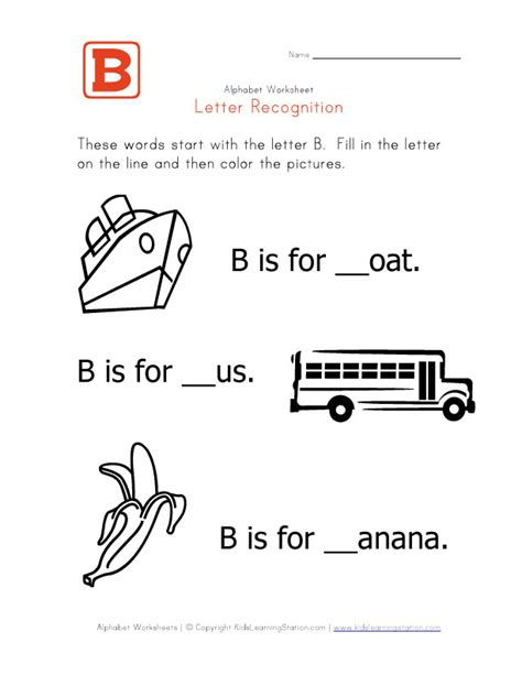 worksheets with the letter b things that start with letter b