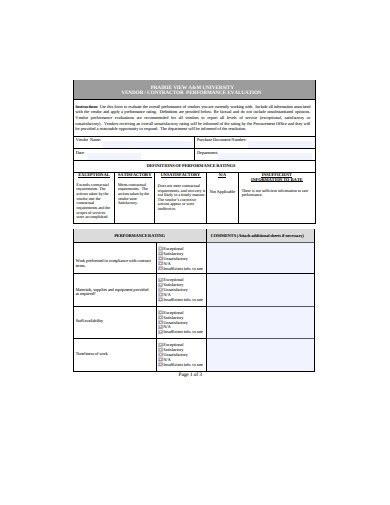 vendor evaluation examples templates