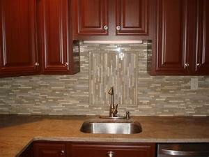 Glass and stone backsplash with accent New Jersey Custom