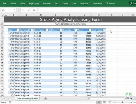 stock ageing analysis reports  excel