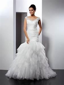 trumpet mermaid v neck applique sleeveless long tulle With hebeos wedding dresses