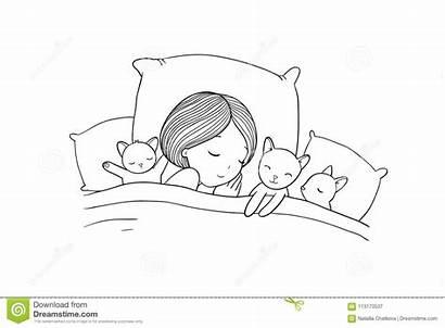 Sleeping Bed Night Cat Illustration Vector Sweet