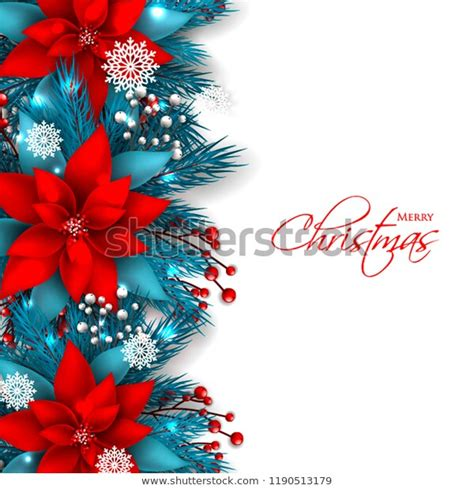 Red Poinsettia Christmas Party Invitation Vector Stock