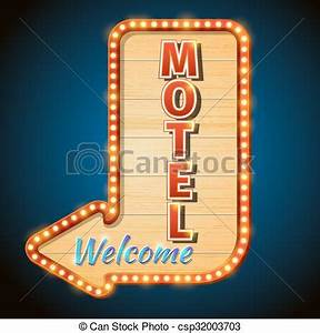 Neon vintage motel sign with light bulbs vector vector