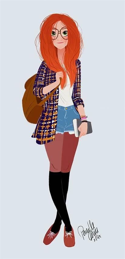 Hair Cartoon Character Drawings Illustrator Anime Redhead