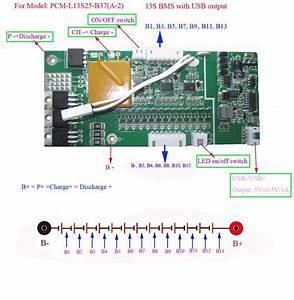 48v Lithium Ion Bms For Ebike Frame Battery With 5v Usb