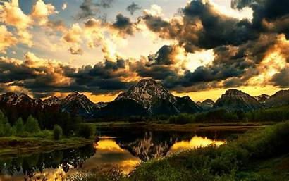 Mountain Clouds Sunset Mountains Nature Lake Beauty