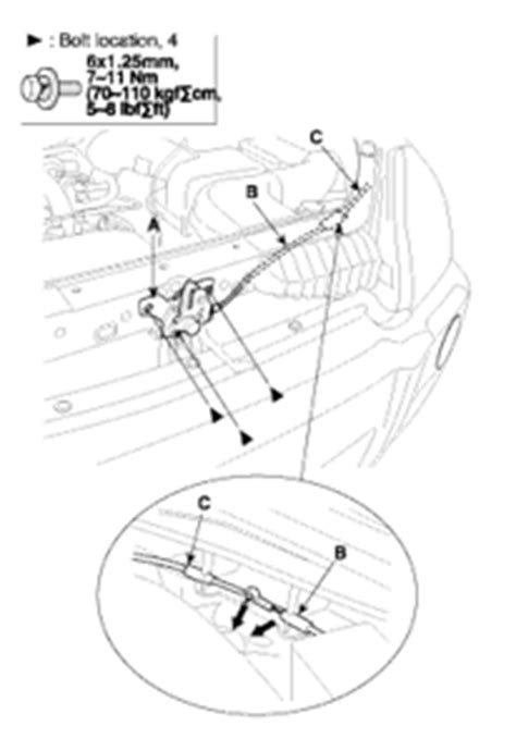 2006 Azera internal hood release handle disconnected from