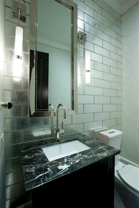 mirrored tiles backsplash contemporary bathroom