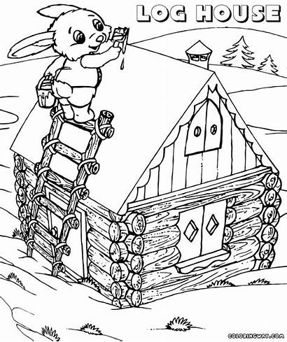 Coloring Pages Log Cabin Drawing Building Colorings