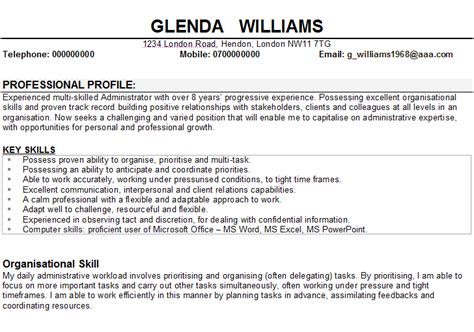 Personal Profile Resume Admin by Administration Cv Sle