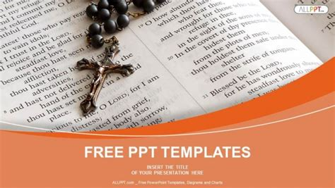black bead rosary  open bible powerpoint templates