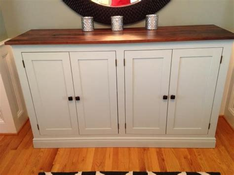 white sideboard buffet cabinet diy wood top country pretty