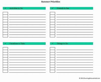 Priorities Chart Management Setting Printable Running Schedule