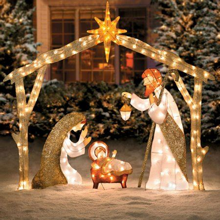 jesus outside christmas lights outdoor nativity sets