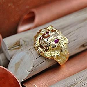 Chevaliere Homme Or 24 Carats : bague chevali re t te de lion yeux rubis or 18k ~ Melissatoandfro.com Idées de Décoration