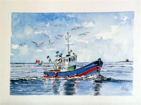 bateau de p 234 che au large de port navalo aquarelles marines