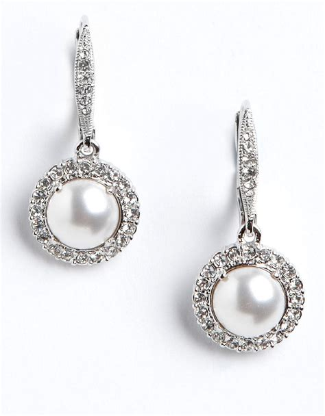 pave jewelry nadri pave faux pearl earrings in white lyst