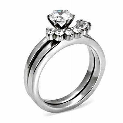 Steel Stainless Ring Diamond Round Stone Clear