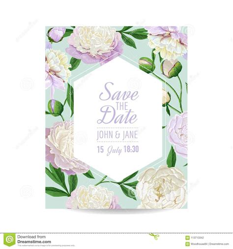 Floral Wedding Invitation Template Save The Date Card