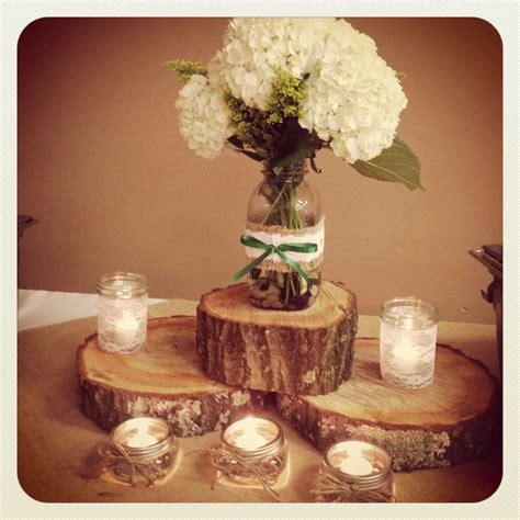 Mason Jar Centerpieces Wrapped With Burlap Lace And Kelly