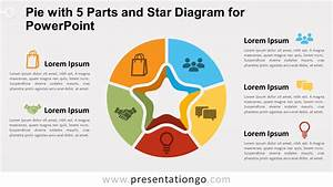 Pie W   5 Parts And Star Diagram For Powerpoint