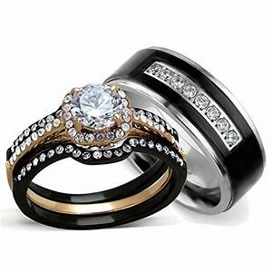 His hers 4 pcs rose gold and black plating stainless for Black wedding ring sets his and hers