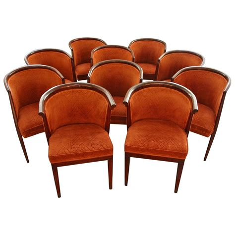 ten harold schwartz mid century tub shaped dining chairs
