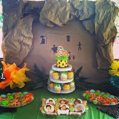 dessert table   croods themed caveman party sweet