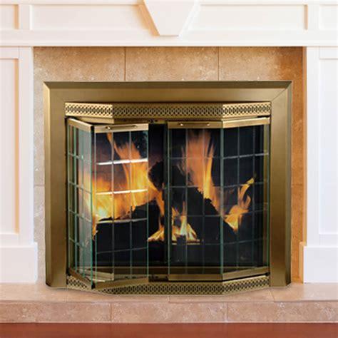 glass fireplace screen pleasant hearth grandior bay medium bifold style glass