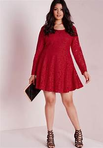 robe patineuse grande taille en dentelle rouge befashionlike With robe patineuse grande taille