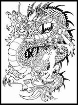 Coloring Dragon Tattoo Razor Whip Tattoos Japanese Change Chinese Adult Dragons Colour Template 90s Sketch Furry sketch template